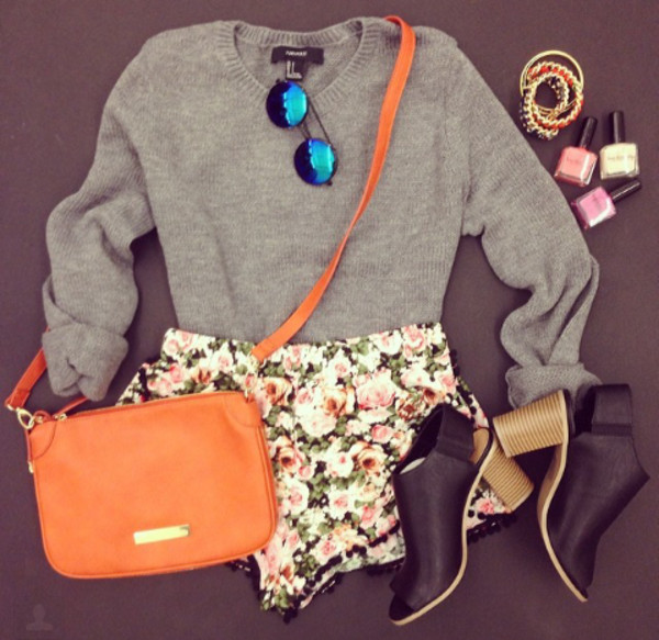 sweater shorts bag shoes grey wool fluffy