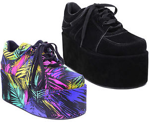 Ladies Goth Chunky Punk Trainers Womens High Platform Wedges Creepers Shoes Size | eBay