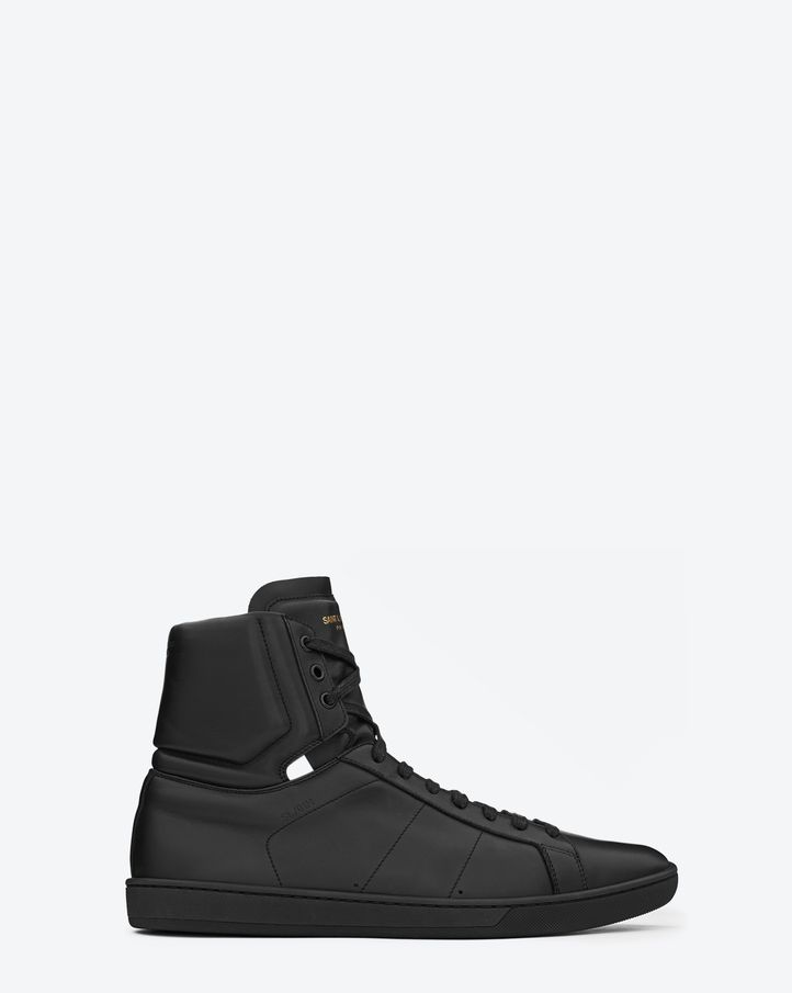 Saint Laurent Sl/01H High Top Sneaker In Black Leather | YSL.com