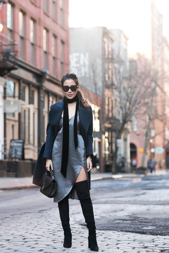 wendy's lookbook blogger coat dress shoes bag scarf sunglasses jewels slip dress thigh high boots boots winter outfits ysl