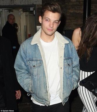 louis tomlinson denim jacket one direction shearling jacket mens jacket mens denim jacket shearling denim jacket denim faux fur jacket cold