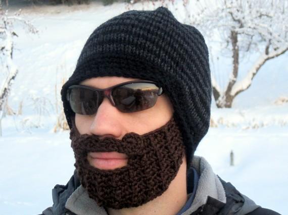 beard beanie  black and charcoal striped L/XL di taraduff su Etsy