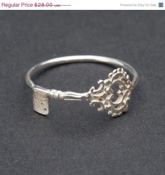 Valentine SALE  Skeleton key ring  silver by DvoraSchleffer