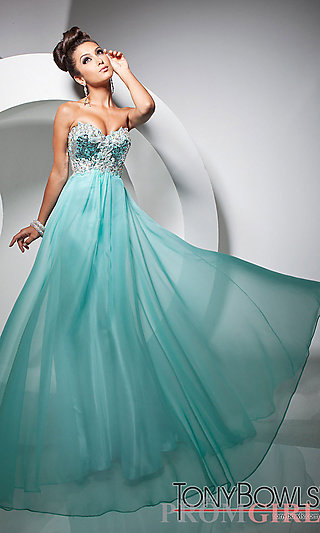 Strapless Prom Gown, Tony Bowls Strapless Prom Dress- PromGirl
