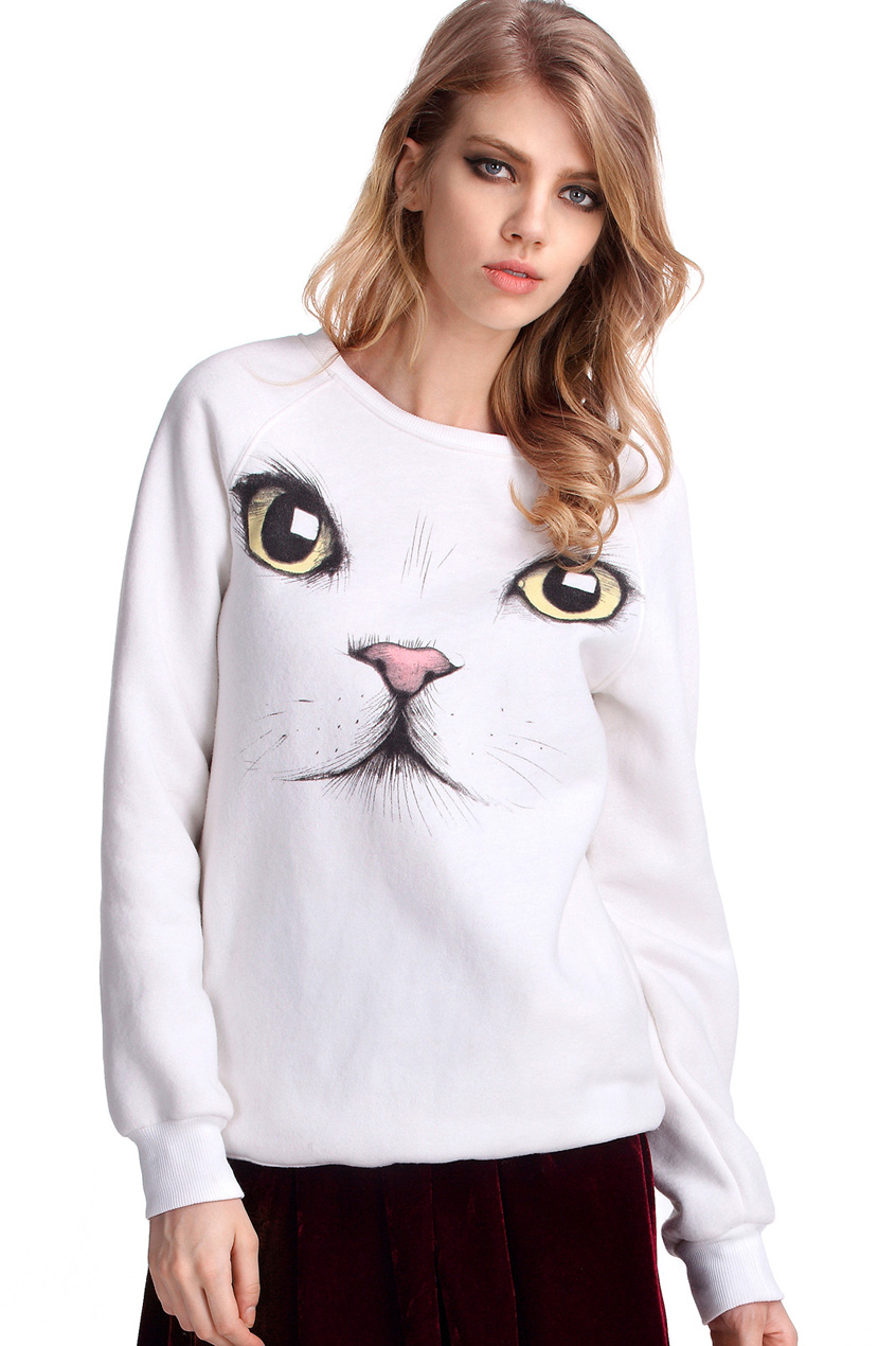 ROMWE   Cat Face Print White Thick Pullover, The Latest Street Fashion
