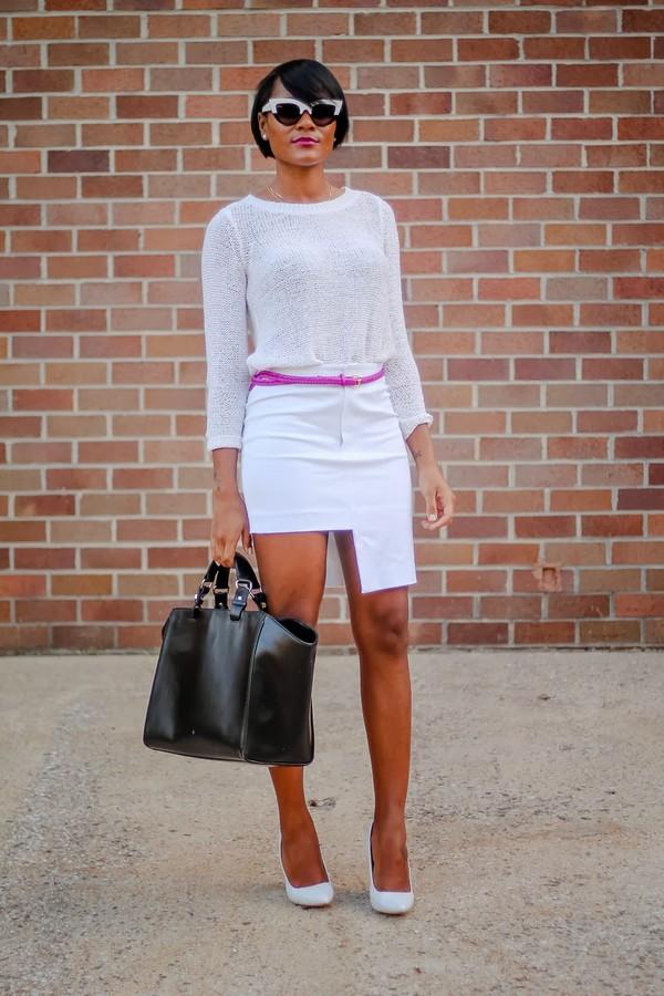 the daileigh t-shirt belt skirt sunglasses shoes bag