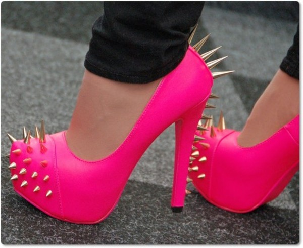 shoes gold studs spiked shoes spikes fluo high heels pink pink high heels closed toe heels