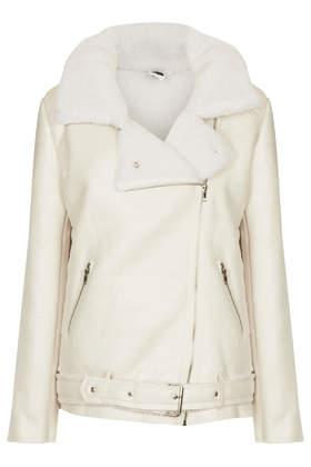 **Faux Sheepskin Biker Jacket by The Whitepepper - Jackets & Coats  - Clothing  - Topshop