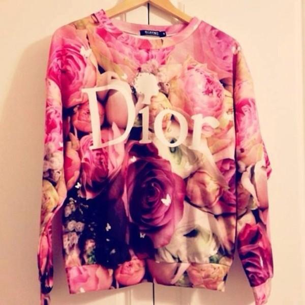 sweater shirt pink floral dior