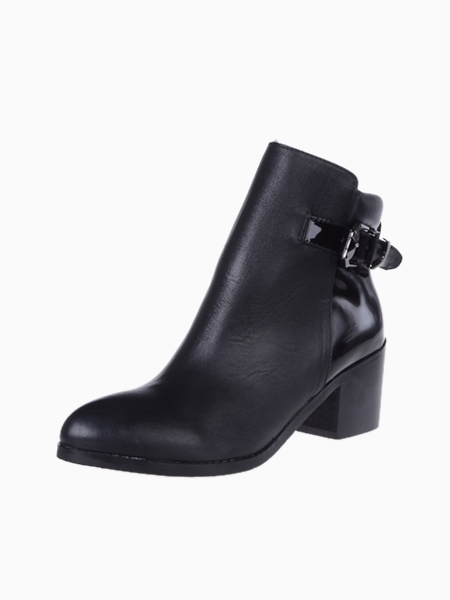 Heeled Ankle Boots With Patent Panel   Choies