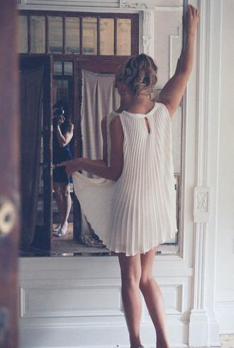 pleated white dress dress white