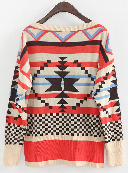 Apricot Red Long Sleeve Geometric Pattern Sweater - Sheinside.com