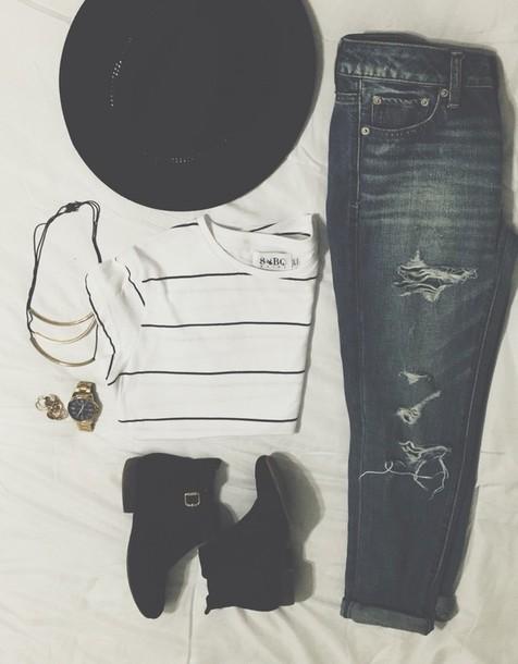 blouse boots t-shirt style denim black boots jewels hat