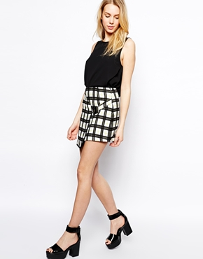Fashion Union | Fashion Union Wrap Skirt In Grid Print With Buckle Detail at ASOS