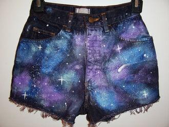 shorts galaxy print space stars hipster boho summer clothes cut offs galaxy shorts high waisted denim high waisted denim shorts