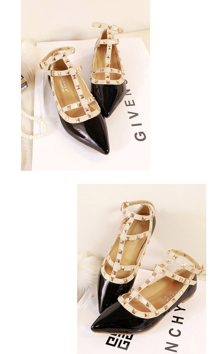 Black Ankle Strap Flats with Studs [FABI1663] - PersunMall.com