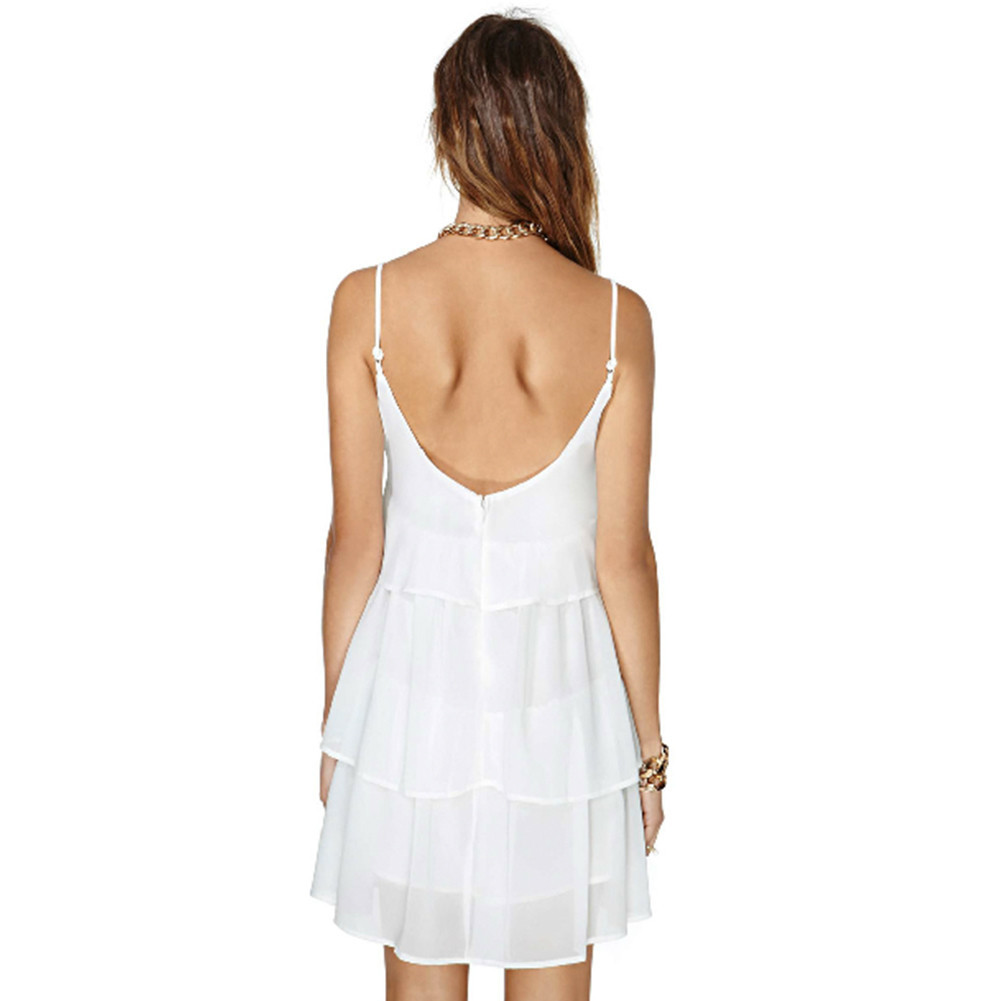 WHITE CHIFFON STRAP LAYERS DRESS / back order – HolyPink