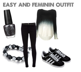 shirt black white dip dye shoes jeans jewels belt adidas campus