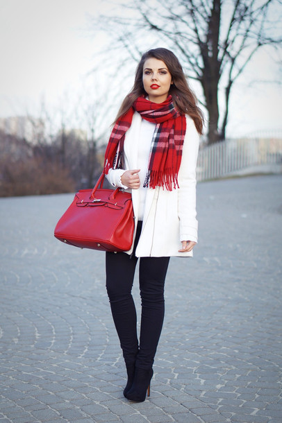 a piece of anna blogger red bag tartan scarf white coat coat scarf bag shoes sweater