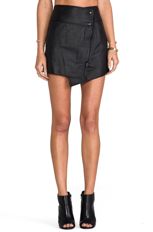 Rachel Zoe Bowery Leather Asymmetrical Skirt in Black   REVOLVE