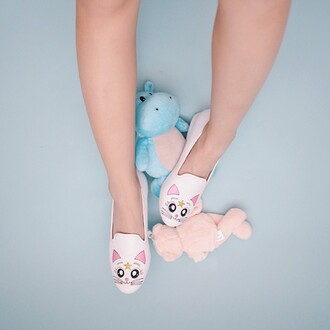 shoes zooshoo flats loafers sailor moon cats cat shoes