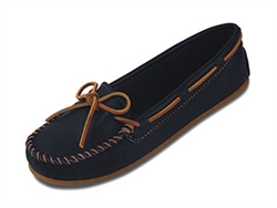 Minnetonka Moccasin Limited Edition Boat Mocc - Navy Blue - Leather Bound Online