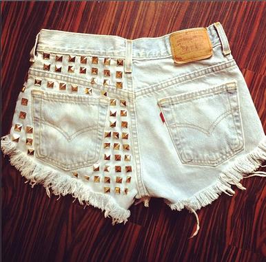 Rolling Stone 320 Studded Shorts - Arad Denim