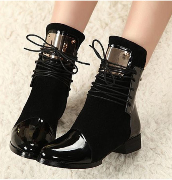 shoes boots gold plate lace up black