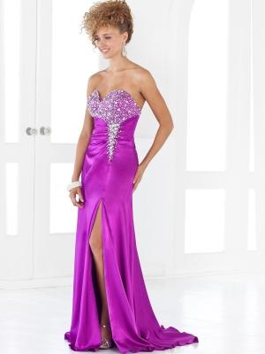 Buy Bright Beaded Sheath/Column Sweetheart Neckline Split Sweep Train Evening Dress   under 200-SinoAnt.com