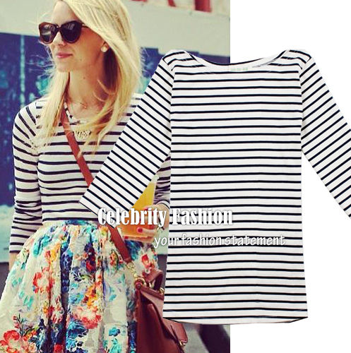 TD51N Celebrity Style 3 4 Sleeve Fitted Sailor Striped Cotton T Shirt TOP   eBay