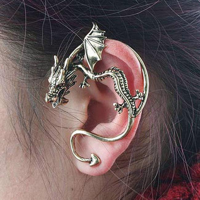 Vintage Gothic Winged Flying Dragon Alchemy Ear Cuff EMO Wrap Piercing Earring | eBay