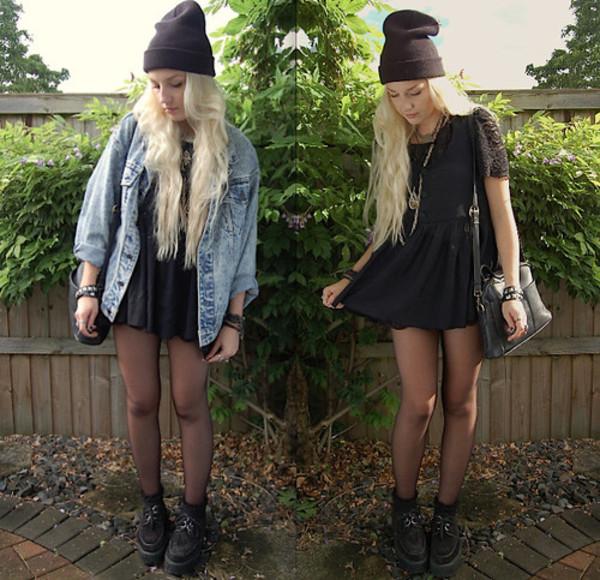 hat denim vest black leggings black dress bag dress jacket