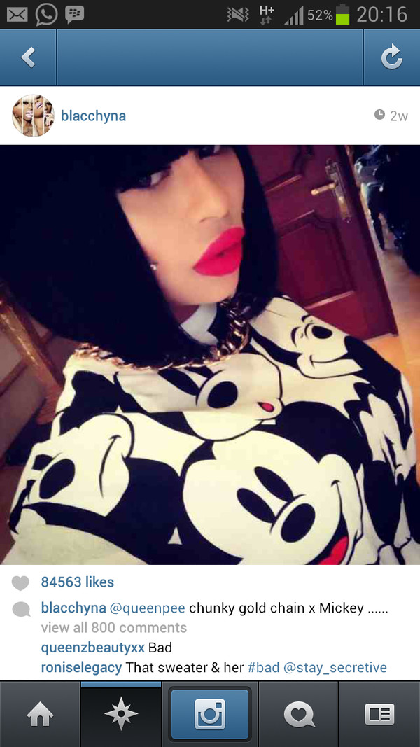 sweater mickey mouse blac chyna model black and white sweatshirt pattern print cartoon swag colorful childhood cute make-up