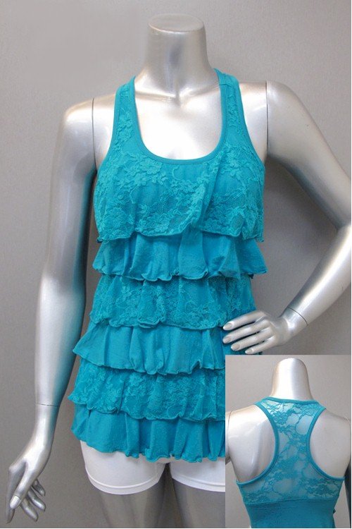 Whimsy Ruffle Tiered Lace Racerback Tank Top 9 Colors s M L Free Shipping | eBay
