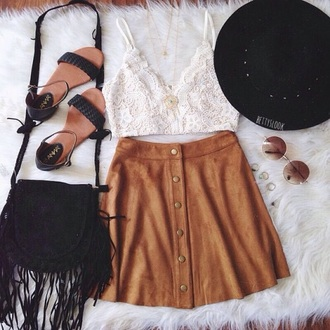 skirt brown caramel