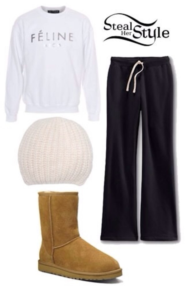 sweater ariana grande pants hat shoes
