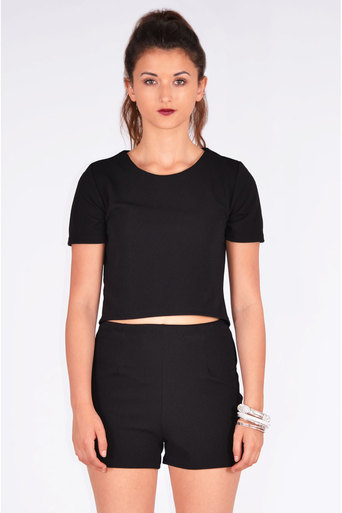 Ladies Ivonne Crepe Boxy Top & Short Two Piece Set In Black at Pop Couture UK