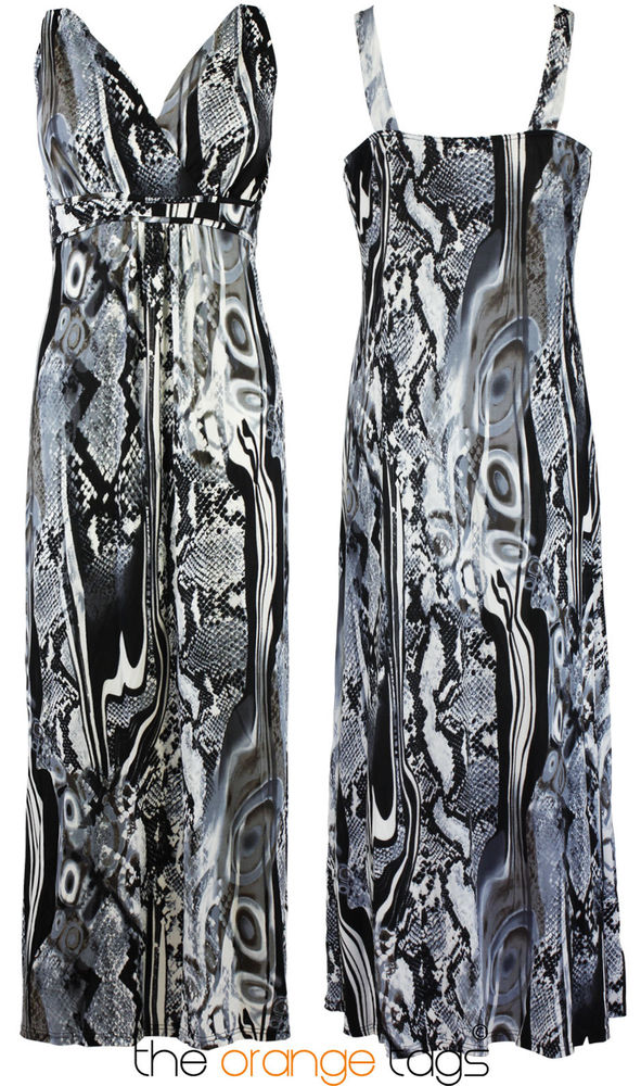 WOMENS LONG EVENING MAXI DRESS LADIES PRINTED SLEEVELESS MAXI PLUS SIZE 16-28 | eBay