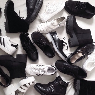 shoes black white black shoes white shoes adidas tumblr adidas superstars pale style drmartens
