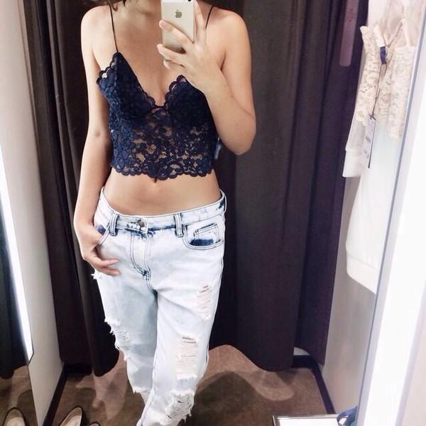 tank top cami black lace crop tops bralette jeans shirt spaghetti strap black lace crop top blouse boyfriend jeans ripped jeans ripped top lace dress