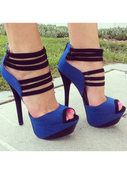 Shoes: pink nails blue high heels sexy high heels - Wheretoget