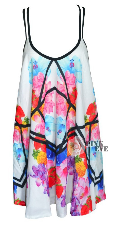 Free shipping 2014 NEW ARRIVALS  Fashion V neck loose geometric flowers on top. Vest.  TB 5956-in Tops & Tees from Apparel & Accessories on Aliexpress.com