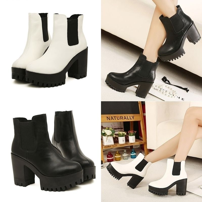 Women Chunky Thick Heels Shoes Leather PU Ankle Platform Oxford Casual Boots | eBay
