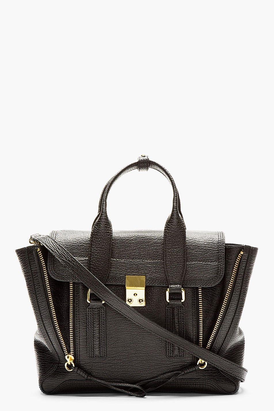 3.1 phillip lim black textured leather pashli medium satchel