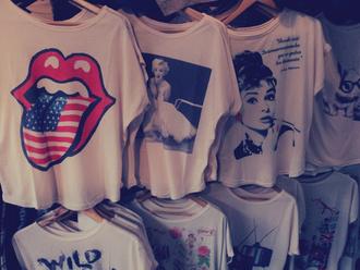 shirt clothes marilyn monroe audrey hepburn t-shirt the rolling stones rock blouse celebrity