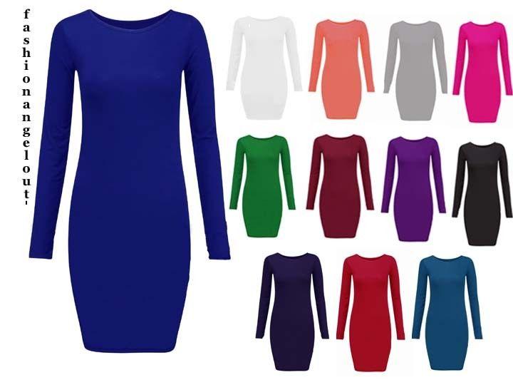 Womens Ladies Celebrity Long Sleeve Bodycon Dress   eBay