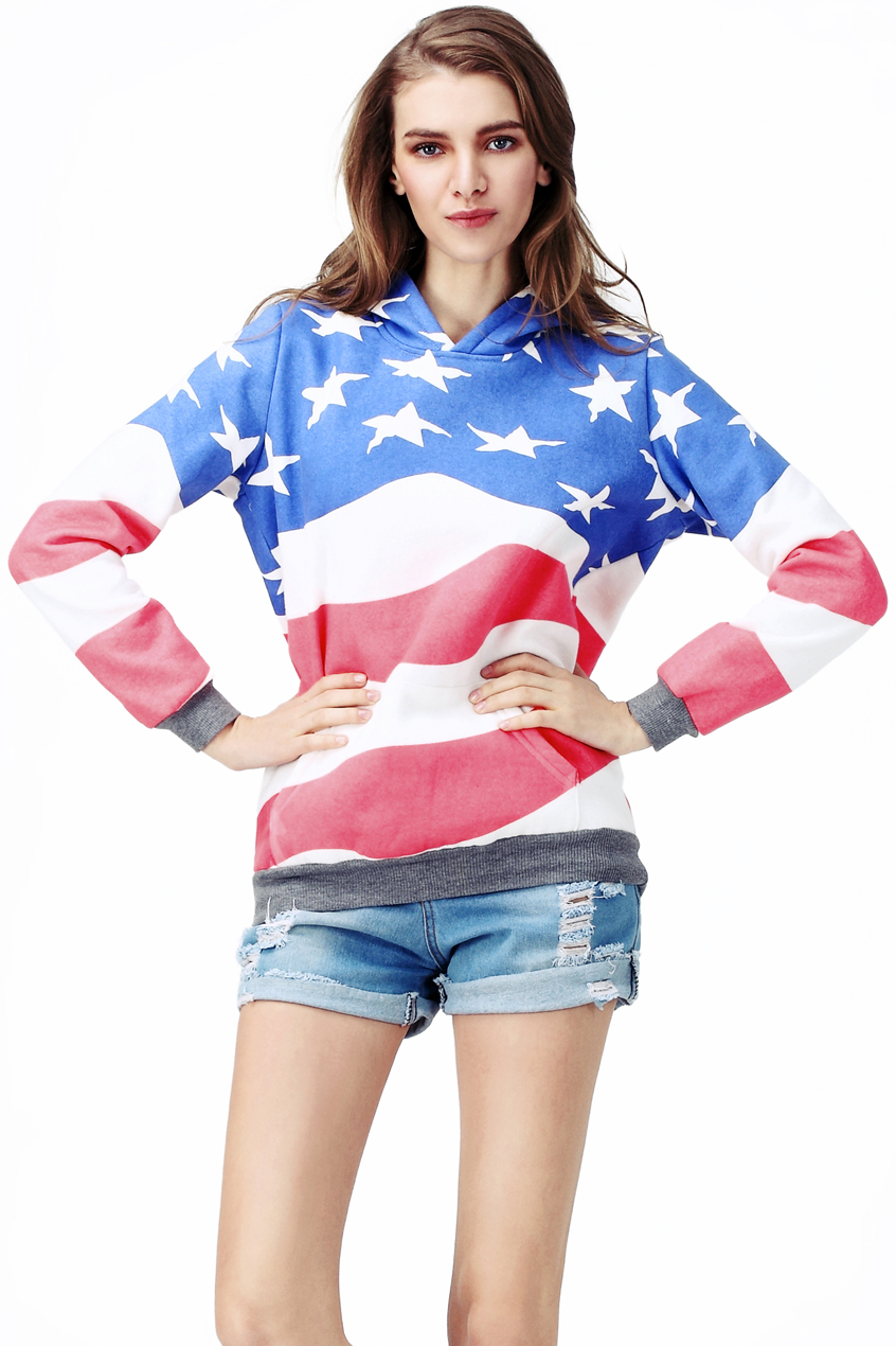 ROMWE | Flag Print Hooded Sweat Hoodie, The Latest Street Fashion