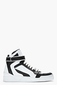 Givenchy Black & White Leather High-top Sneakers for men   SSENSE