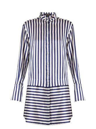 cotton silk satin blue dress shirt dress striped shirt burberry