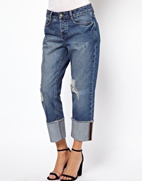 ASOS | ASOS Brady Low Rise Slim Boyfriend Jeans in Vintage Wash with  Deep Turn Up at ASOS